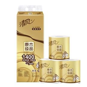 清风 原木纯品 金装卷纸 4层140g*10卷 *6件 87.46元包邮(合14.58元/件) ¥87