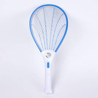 充电式电蚊拍 LED灯大网面电子苍蝇拍蚊子拍 贝壳款(带灯不带手电筒)-天空蓝 23.2元