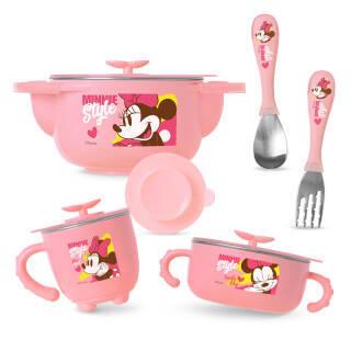 迪士尼(Disney)米妮儿童餐具套装 注水保温碗沙拉碗牛奶杯叉勺吸盘垫6件套 宝宝不锈钢碗 婴儿辅食碗 *2件 140元(合70元/件)