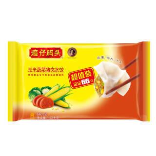 湾仔码头 速冻水饺 玉米蔬菜猪肉口味 1.32kg (66只 早餐 火锅食材 烧烤 饺子) *4件 107.4元(需用券,合26.85元/件)