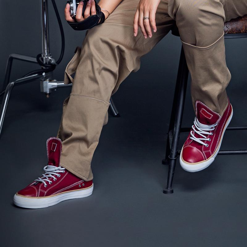 PONY帆布鞋2017新品高帮情侣鞋耐磨防滑男女鞋休闲硫化鞋73U1SH07 *2件 278.6元(合139.3元/件)