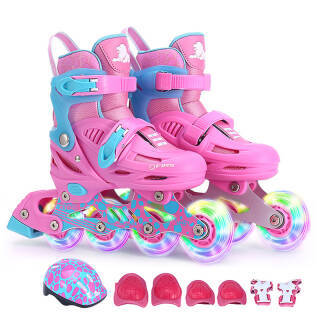 美洲狮(COUGAR)溜冰鞋儿童套装 可调轮滑鞋MZS885粉色L码 178元