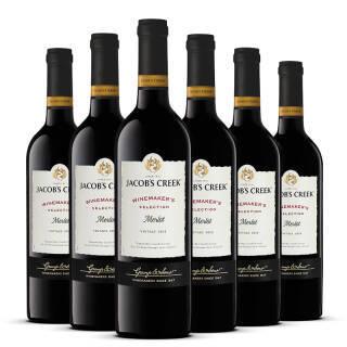 澳洲进口红酒 杰卡斯Jacob's Creek酿酒师臻选系列 梅洛干红葡萄酒750ml*6瓶 392元
