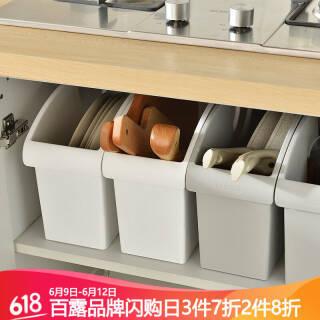 百露厨房锅盖收纳架调味品整理箱滑轮多用收纳箱 加厚白色 *4件 76.2元(合19.05元/件)