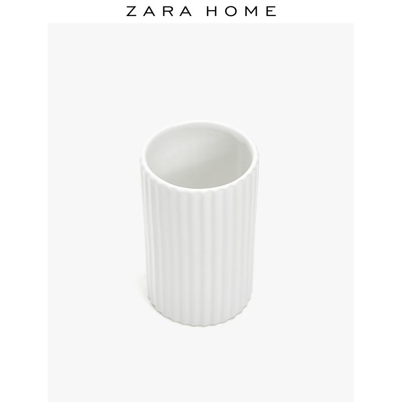 Zara Home 白色简约陶瓷凸纹刷牙漱口杯 44875104250 29元