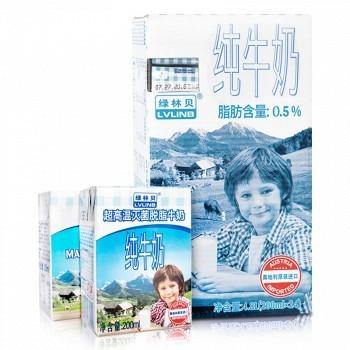 京东商城 LVLINB 绿林贝 超高温灭菌 脱脂纯牛奶 200ml*24盒装 *4件 119.7元包邮(双重优惠,合29.9元/箱)