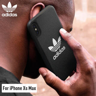 adidas(阿迪达斯)新品苹果iPhone Xs Max6.5英寸手机壳保护套 防摔PU 时尚三叶草经典系列 黑色 99元