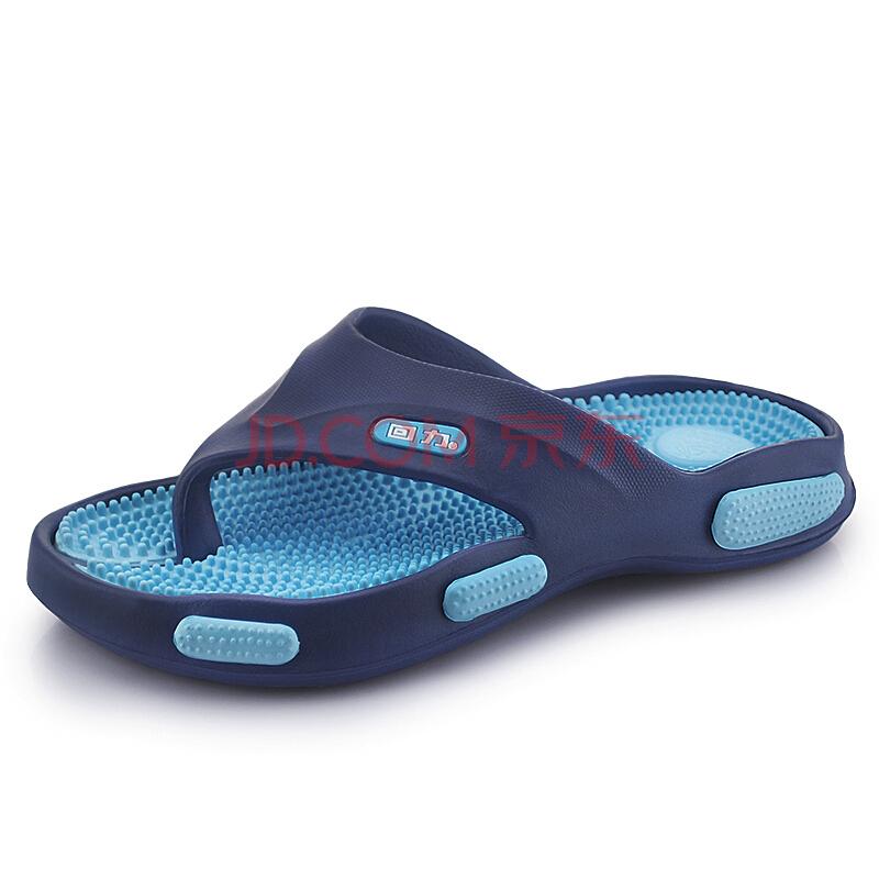 ¥29.9 回力(Warrior ) 人字拖 男户外沙滩鞋休闲夹脚鞋按摩拖鞋 3310 蓝色 43