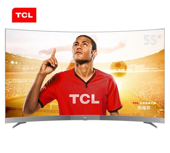 ¥2499 24日0点!TCL 55A950CS 55英寸 32核人工智能 HDR4K曲面金属机身液晶电视