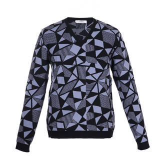 VERSACE COLLECTION 范思哲 奢侈品 男士深蓝色黏纤羊毛V领几何图案长袖针织衫 V700640 VK00163 V4009 L 1271元