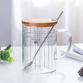 北欧线条高硼硅玻璃杯带盖勺 500ml 19.9元