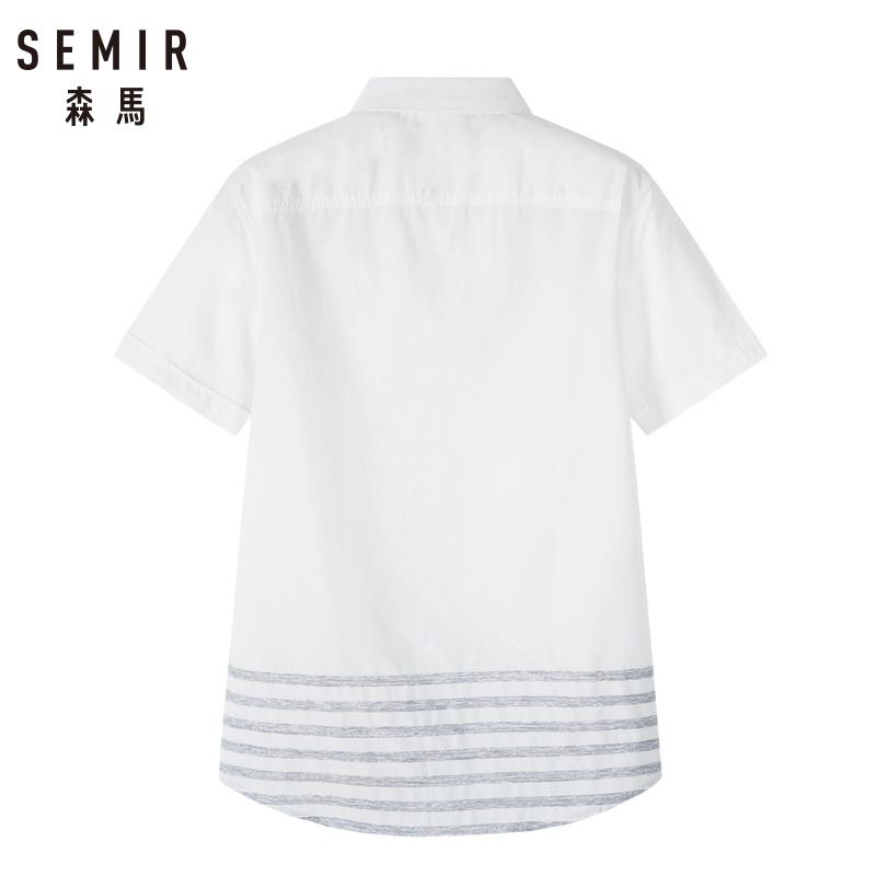 森马2019夏季新款短袖衬衫男翻领撞色条纹纯棉青年上衣个性时尚 47元