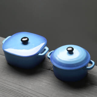 苏氏陶瓷创意双耳带盖燕窝补品汤盅炖罐汤煲蒸蛋盅陶瓷甜品汤锅汤碗一方一圆2个装(深蓝) 17.95元