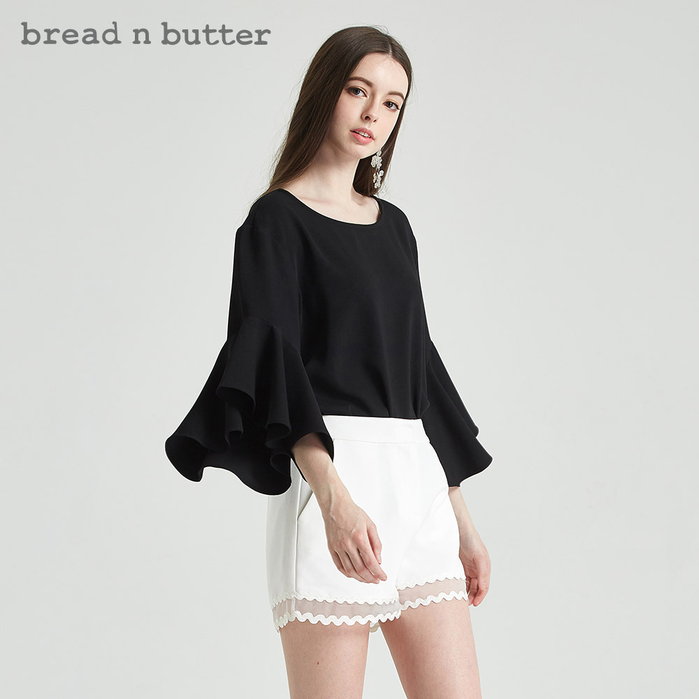 喇叭袖宽松雪纺衫bread n butter女装新款圆领黑色上衣 189元