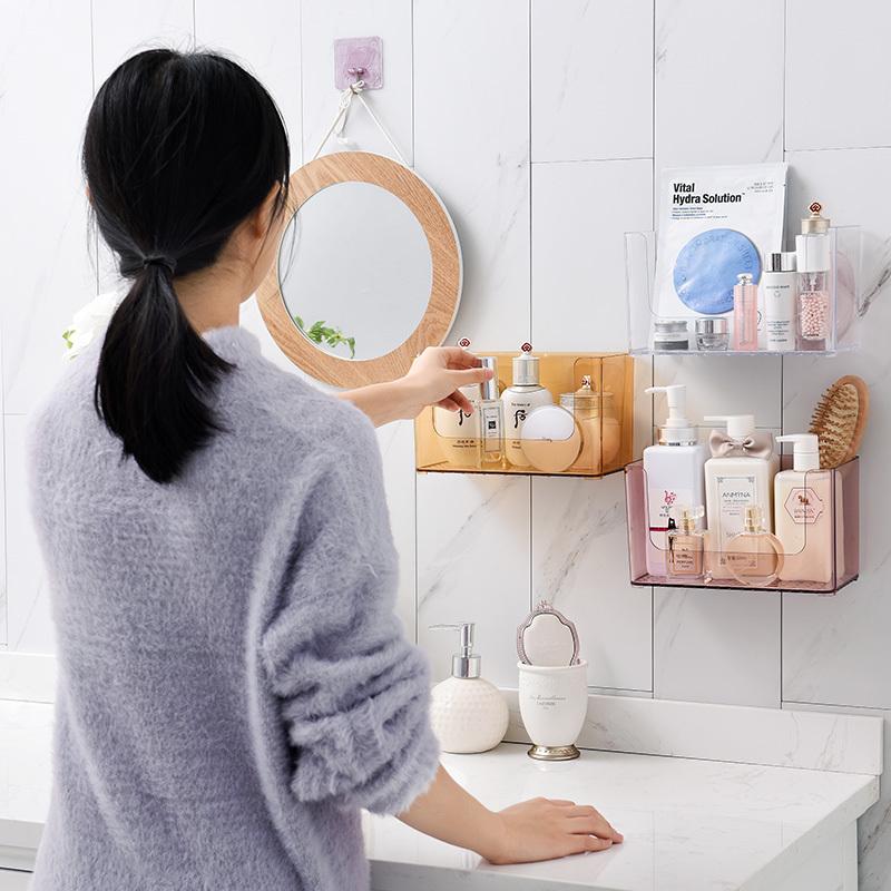 温庭卫生间浴室置物架化妆品储物收纳洗漱台免打孔厨房墙壁挂架子 16.8元