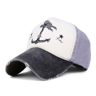 韩版情侣棒球帽子男女做旧海盗船锚户外防晒遮阳帽 黑檐配灰色  券后28元包邮
