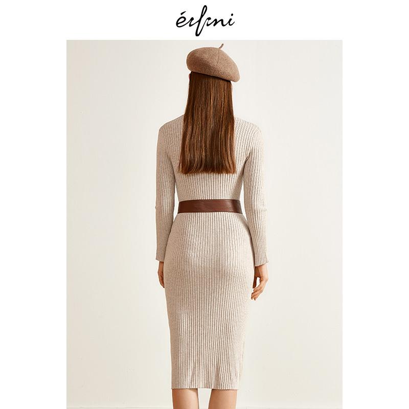 伊芙丽秋装新款修身裙子圆领时尚长袖中长款羊毛针织连衣裙女 310元