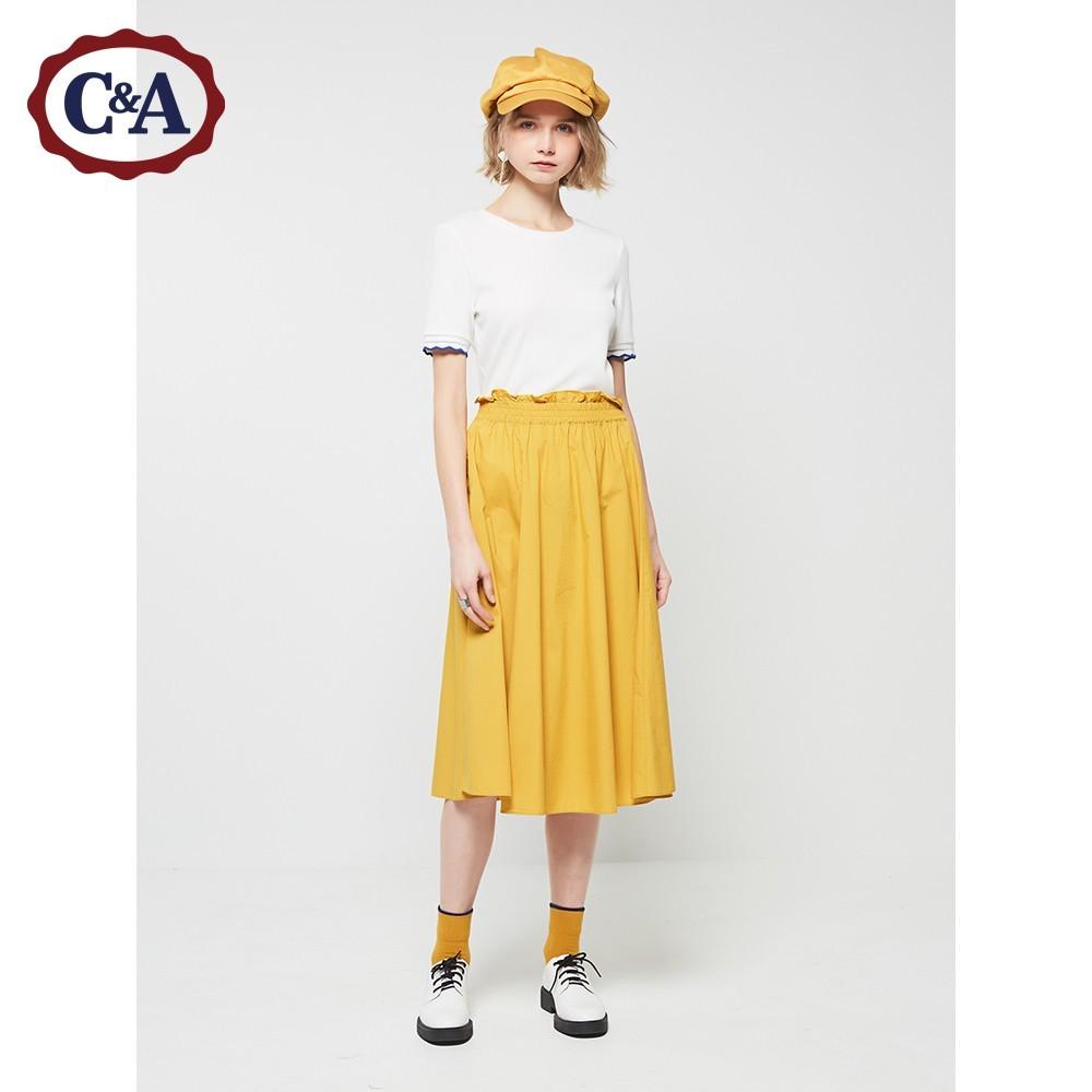C&A休闲插袋松紧腰A字半身裙女 春新款文艺棉布长裙CA200215030 109元