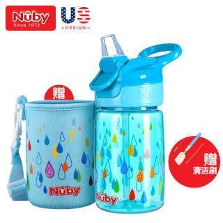 努比(Nuby) 宝宝吸管杯 学饮杯儿童运动水杯 带手提防摔训练水杯 360ml Tritan水蓝 美国品牌 *2件 99元(合49.5元/件)