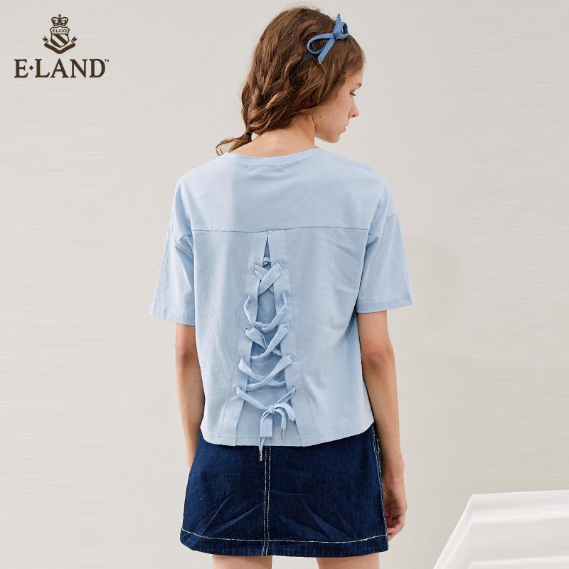 ELAND秋装韩版萌宠嘻哈印花绑带圆领T恤上衣女EERA83712S *2件 318.4元(合159.2元/件)