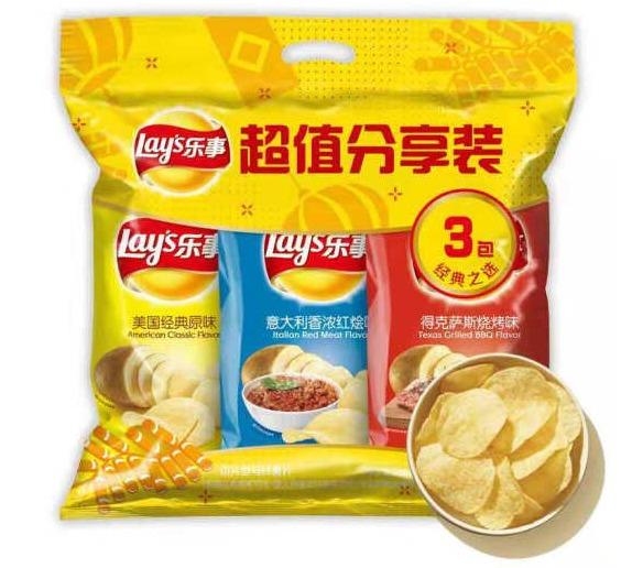 乐事 薯片 超值分享装 210g 9.9元