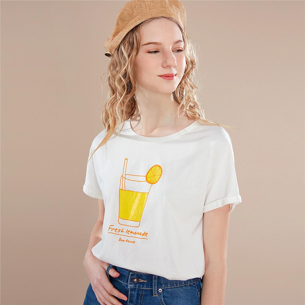 佐丹奴t恤女圆领和服袖T恤衫女夏日清凉饮品印花体恤衫13329208 59.9元