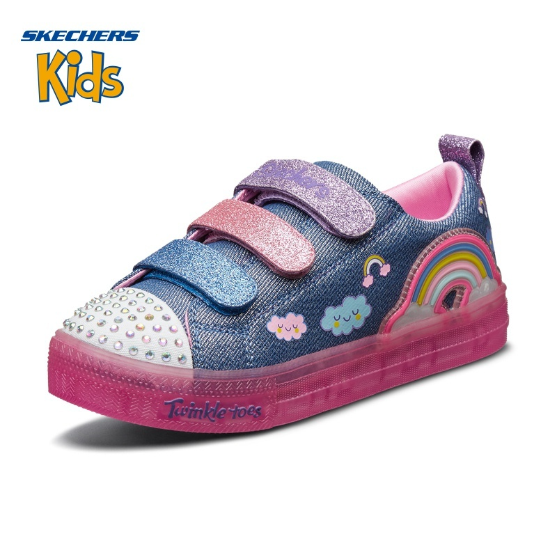 Skechers斯凯奇童鞋新款魔术贴闪钻帆布鞋 女童时尚闪灯鞋 20173L 299元