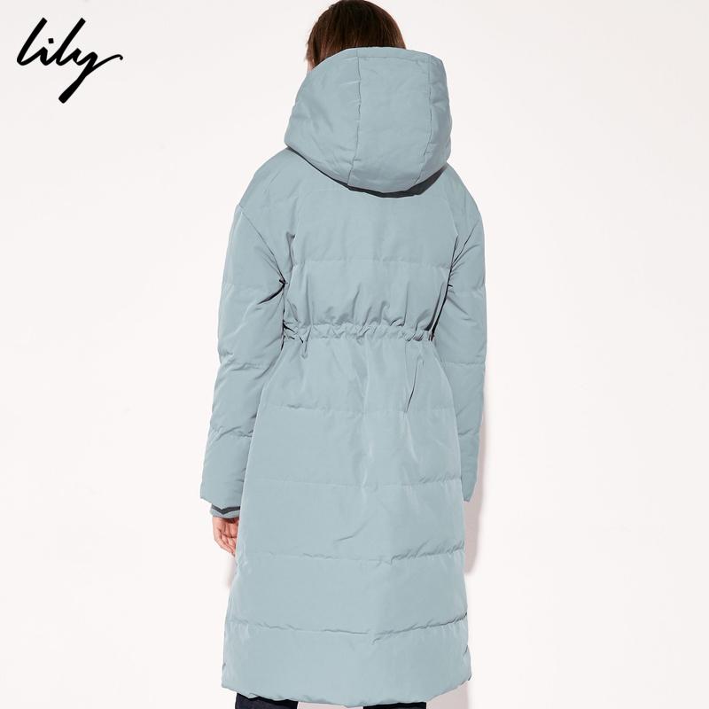 Lily冬新款女装OL气质浅蓝可脱卸帽高领收腰长款羽绒服1998 629元