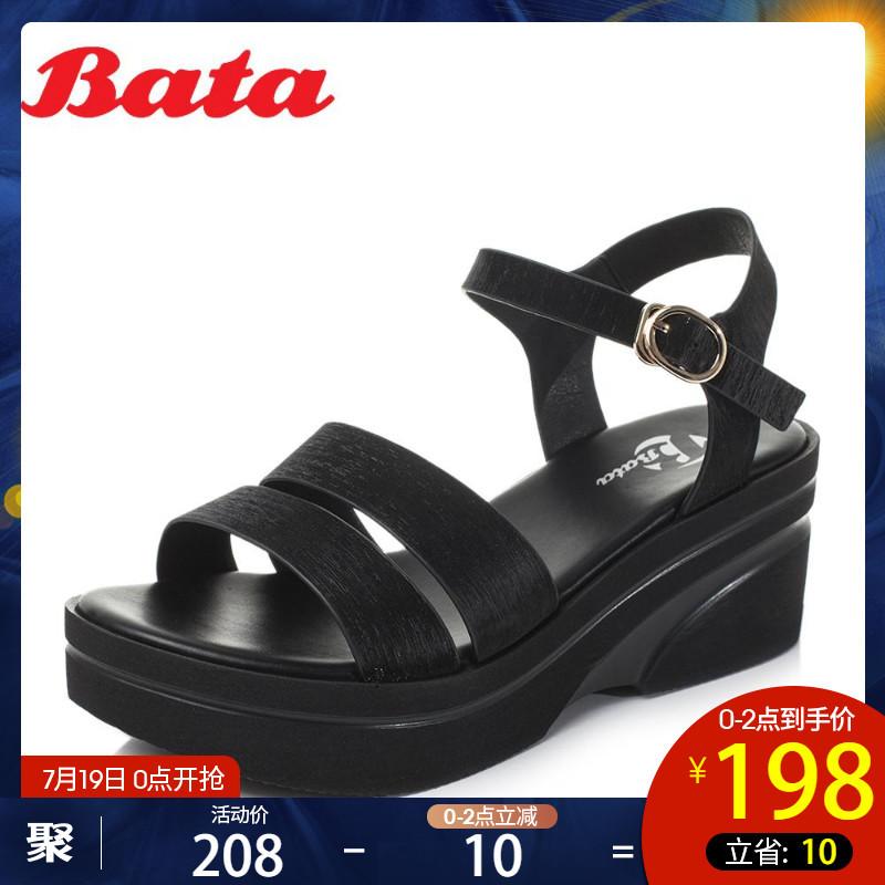 Bata拔佳夏新简约休闲坡跟一字式带厚底高跟女凉鞋872BBL8 198元