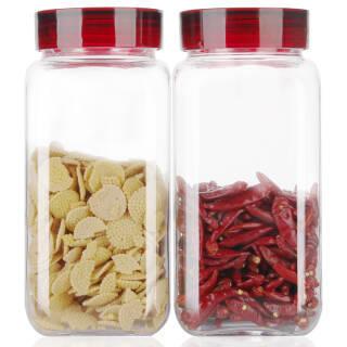 金熊 高白料玻璃密封罐方形厨房收纳储物罐2.4L*2两件套 JM710 *2件 69.9元(合34.95元/件)