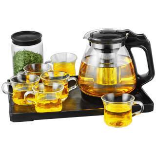 紫丁香 整套耐热加厚玻璃茶具套装家用功夫茶杯具花茶壶茶杯套装过滤带茶盘(九件套)WJ8122 *2件 142元(合71元/件)
