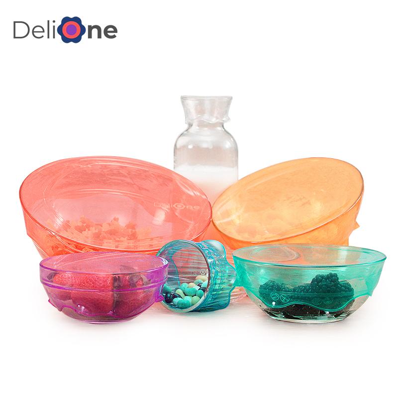 DeliOne食品级硅胶保鲜盖套 多功能家用碗盖冰箱密封可乐保鲜盖子 29元