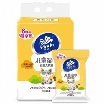 京东商城 PLUS会员: Vinda 维达 儿童专用卫生湿巾 20片装*6包 *8件 106.24元包邮(双重优惠,合13.28元/件)