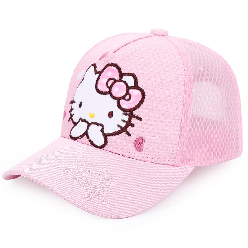 凯蒂猫儿童帽子夏薄款女童宝宝遮阳帽公主网眼防晒太阳鸭舌棒球帽 26.9元