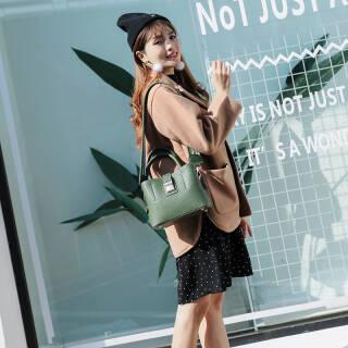 博思蒂克女包单肩包女软皮包印花水桶包女新款斜挎包百搭手提女包 绿色 69元