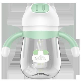 日康(rikang)吸管杯学饮杯婴儿水杯儿童吸管杯防摔防呛防漏重力球吸管杯 淘淘猪杯(绿色)250ML RK-B1026 *3件 44.91元(合14.97元/件)
