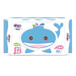心相印婴儿湿巾 宝宝手口PP专用湿纸巾 小鲸鱼儿童带盖湿巾80抽 *6件 30.16元(合5.03元/件)
