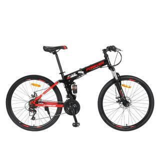 永久 FOREVER 24变速自行车 前后减震折叠山地车 双碟刹软尾男女单车 F18-1 黑红色 638元