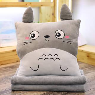 卡通龙猫抱枕被子两用靠垫空调毯汽车午休被子 嘟嘟嘴 抱枕毯1*1.7m 39.9元