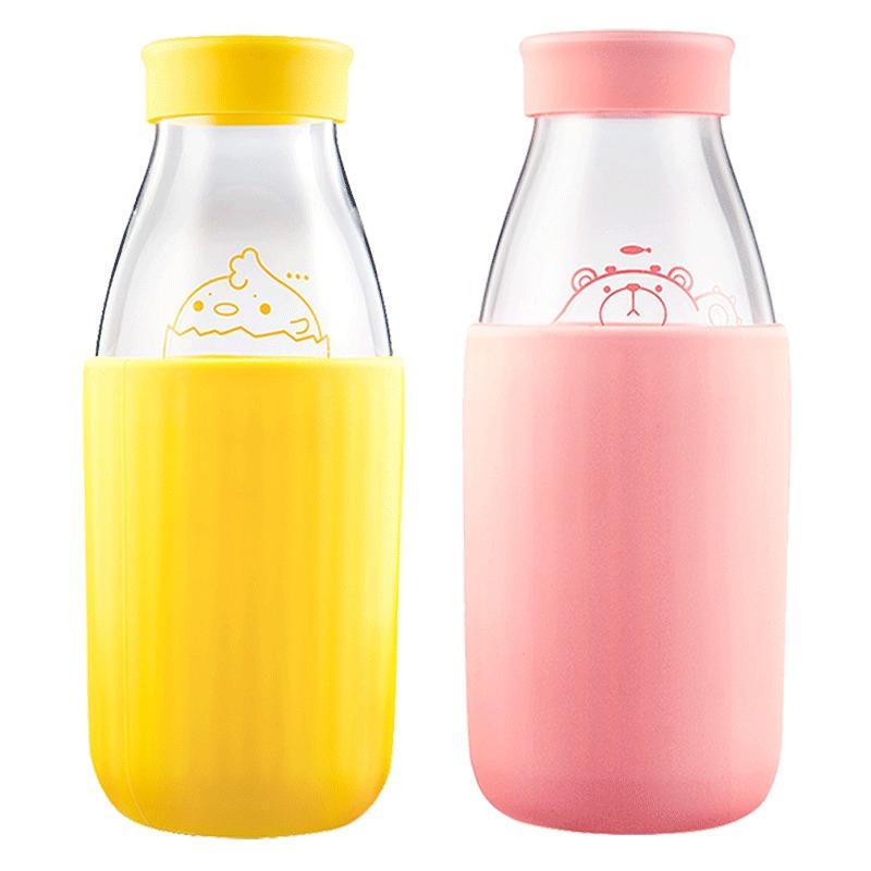 物生物创意牛奶杯带盖果汁玻璃杯可爱咖啡早餐杯子耐热水杯饮料瓶 19元