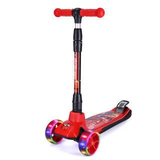 迪士尼(Disney)儿童滑板车 加大加宽四轮全闪品质款红黑汽车平衡车一键折叠可调升降扭扭脚踏滑步车摇摆车 228元
