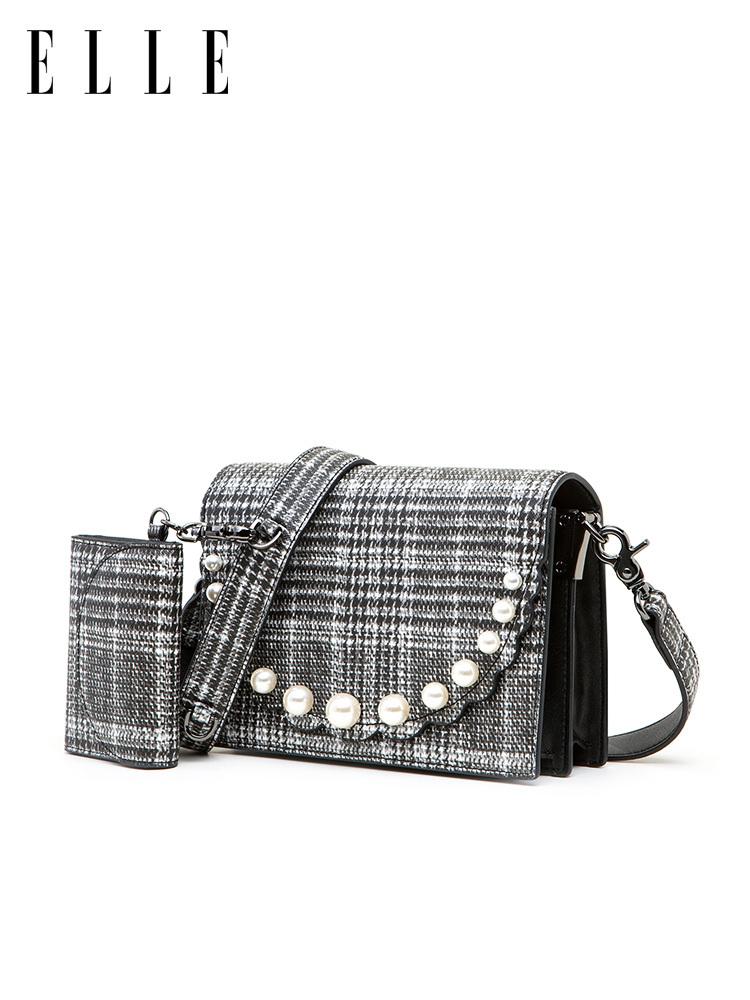 ELLE女包单肩包女2019新款80914气质格纹珍珠装饰翻盖肩背斜挎包 415.1元