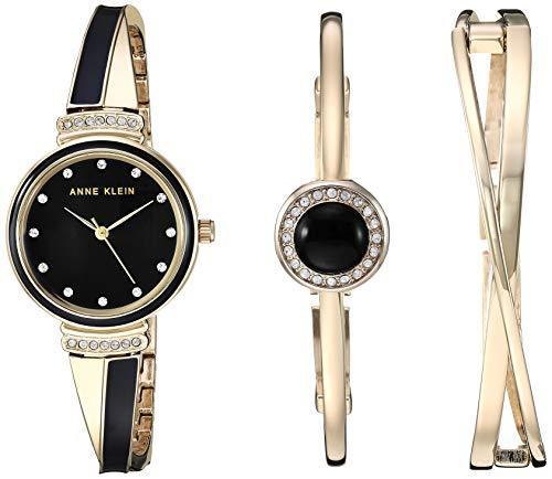 ¥303.37 Anne Klein安妮·克莱恩 AK/3292BKST 施华洛世奇水晶 女士手镯手表套装