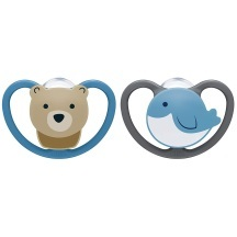 ¥47.61 NUK 宝宝超软硅胶乳胶安抚奶嘴 熊+鲸鱼2个装 6-18个月