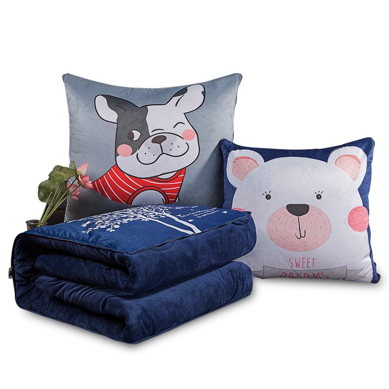 加厚抱枕被子两用毯子汽车用多功能折叠靠垫枕头午睡珊瑚绒办公室 27元