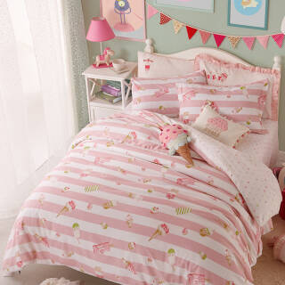 梦洁宝贝 儿童家纺 女孩全棉甜美四件套 纯棉床单被罩 甜甜布兰妮 1.5米床 200*230cm+凑单品 158.95元