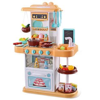 贝恩施 儿童玩具 真实循环出水 男孩 女孩玩具 角色扮演亲子互动 过家家厨房玩具带喷雾B133 黄色+凑单品 99.9元