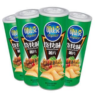 可比克 烧烤味 薯片 零食休闲食品 105g*4罐 *3件 53.82元(合17.94元/件)