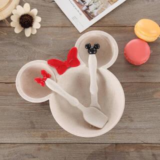 树镇 创意小麦秸秆米奇碗餐具套装家用新款儿童宝宝喂食餐盘隔热防摔烫 北欧米 *3件 23.76元(合7.92元/件)