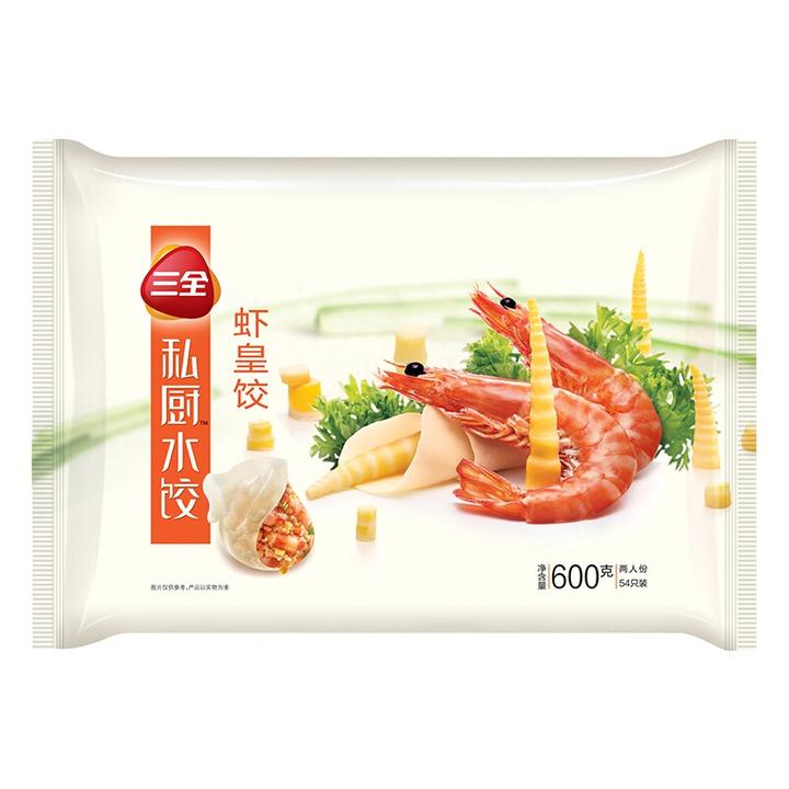 三全 私厨水饺 虾皇饺 600g 42.9元,可优惠至19.31元